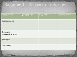Задание 1. Заполните таблицу:            Типы систем Преимущества