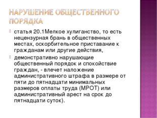 статья 20.1Мелкое хулиганство, то есть нецензурная брань в общественных места