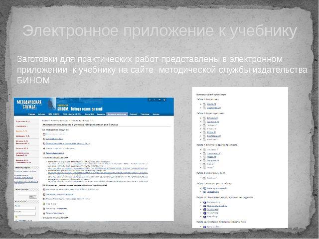 Электронное приложение к учебнику Заготовки для практических работ представл...