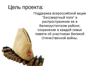 """Поддержка всероссийской акции """"Бессмертный полк"""" и распространение ее в Вели"""