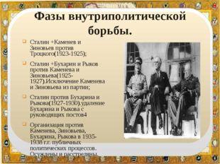 Фазы внутриполитической борьбы. Сталин +Каменев и Зиновьев против Троцкого(1