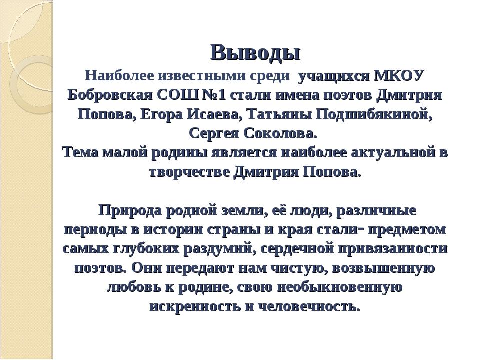 Выводы Наиболее известными среди учащихся МКОУ Бобровская СОШ №1 стали имена...
