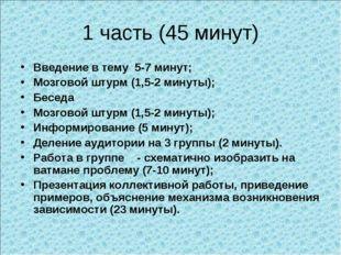 1 часть (45 минут) Введение в тему 5-7 минут; Мозговой штурм (1,5-2 минуты);
