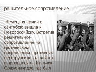 решительное сопротивление Немецкая армия к сентябрю вышла к Новороссийску. Вс