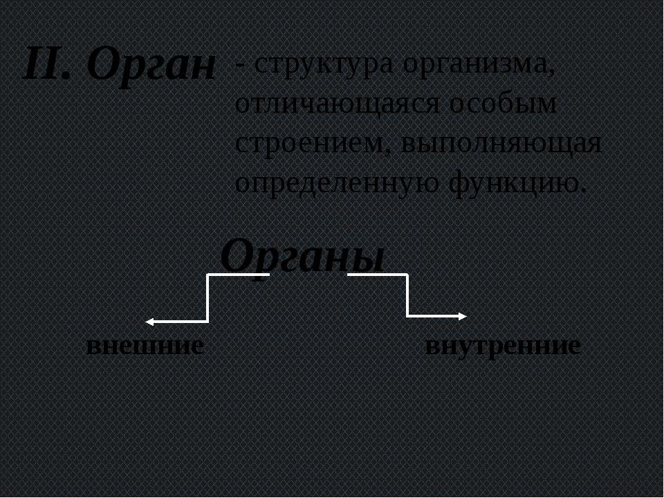 II. Орган - структура организма, отличающаяся особым строением, выполняющая о...