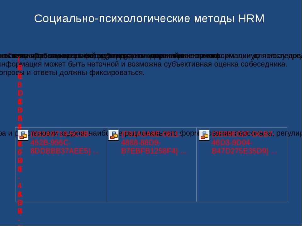 Социально-психологические методы HRM