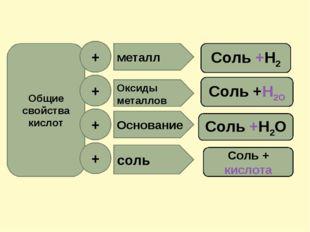 Общие свойства кислот + + + + Оксиды металлов Основание соль металл Соль +Н2О