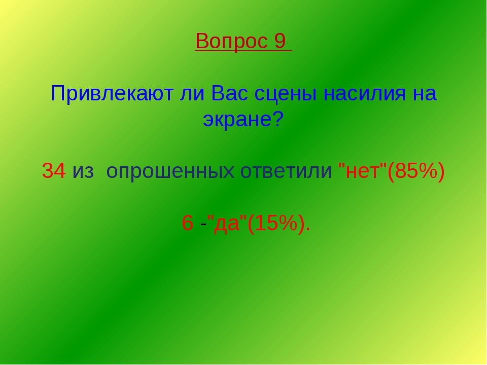 Вопрос 9 Привлекают ли Вас сцены насилия на экране? 34 из опрошенных ответил...