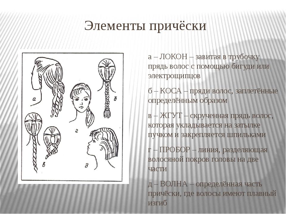 Элементы причёски а – ЛОКОН – завитая в трубочку прядь волос с помощью бигуди...