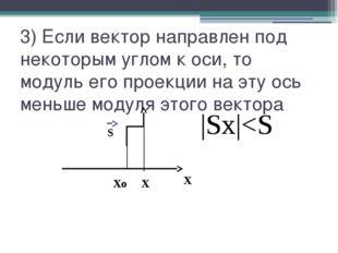 3) Если вектор направлен под некоторым углом к оси, то модуль его проекции на