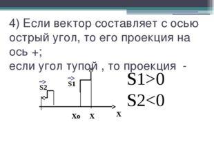 4) Если вектор составляет с осью острый угол, то его проекция на ось +; если