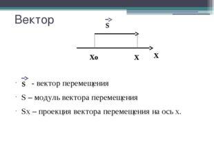 Вектор - вектор перемещения S – модуль вектора перемещения Sx – проекция вект