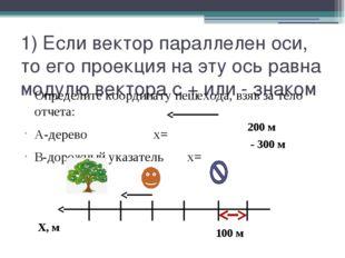 1) Если вектор параллелен оси, то его проекция на эту ось равна модулю вектор