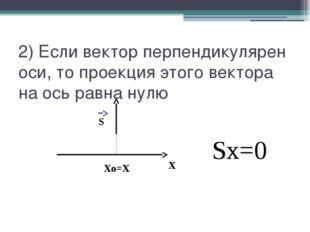 2) Если вектор перпендикулярен оси, то проекция этого вектора на ось равна ну
