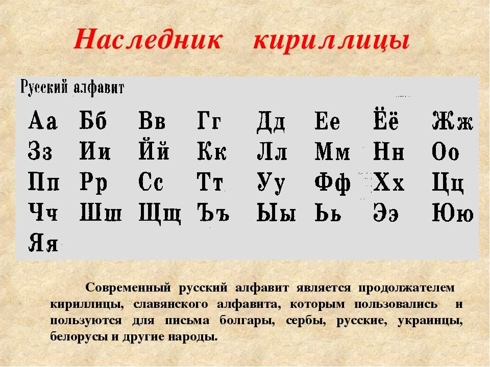 Наследник кириллицы Современный русский алфавит является продолжателем кирилл...