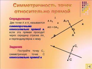 Определение Две точки А и А1 называются симметричными относительно прямой а,