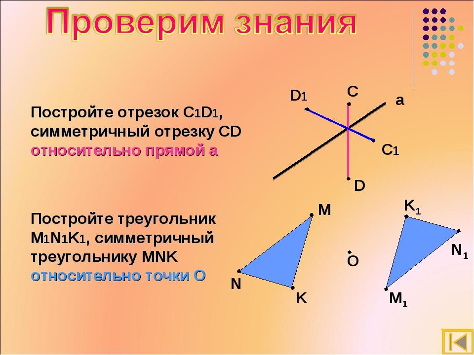 Постройте отрезок С1D1, симметричный отрезку СD относительно прямой а Постр...