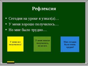 Рефлексия Сегодня на уроке я узнал(а)… У меня хорошо получилось… Но мне было