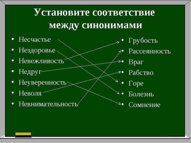 Установите соответствие между синонимами Несчастье Нездоровье Невежливость Не...
