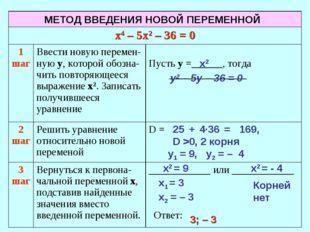 х2 у2 – 5у – 36 = 0 25 + 4·36 = 169, D >0, 2 корня х2 = 9 х2 = - 4 у1 = 9, у2