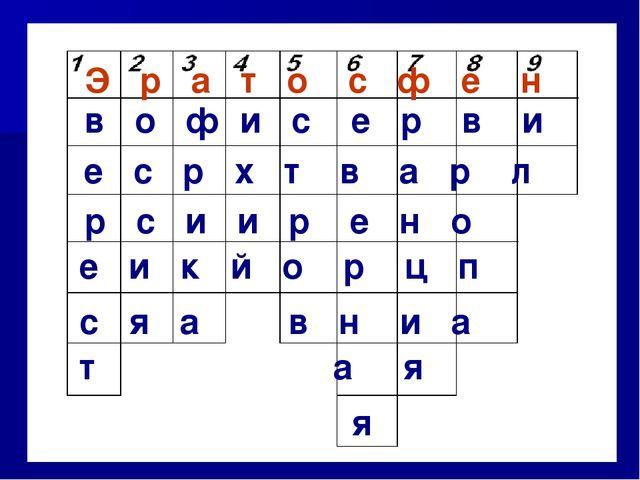 Э р а т о с ф е н в о ф и с е р в и е с р х т в а р л р с и и р е н о е и к й...
