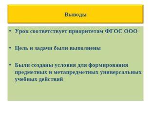 Урок соответствует приоритетам ФГОС ООО Цель и задачи были выполнены Были соз