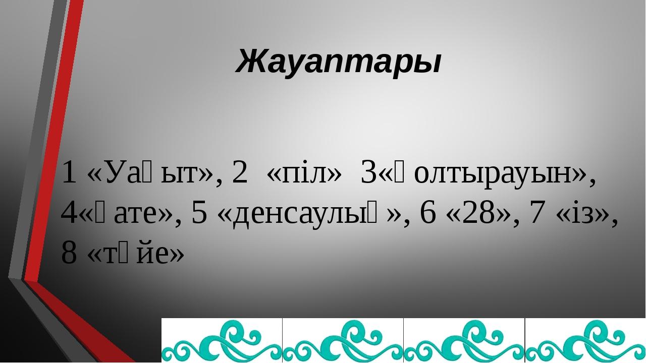 Жауаптары 1 «Уақыт», 2 «піл» 3«қолтырауын», 4«қате», 5 «денсаулық», 6 «28», 7...