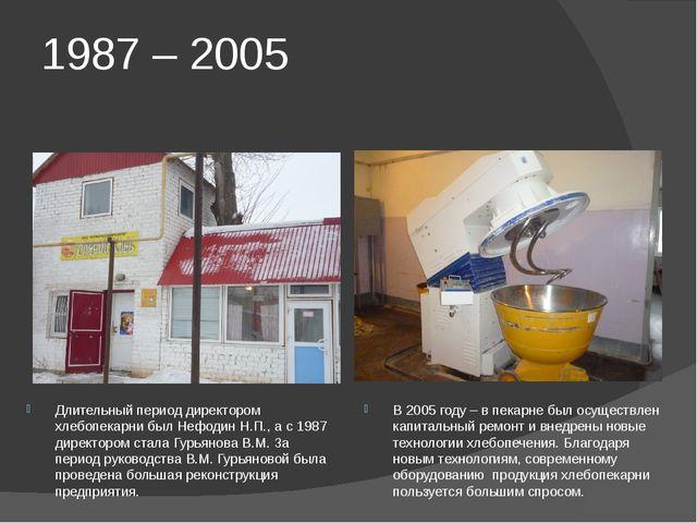 1987 – 2005 Длительный период директором хлебопекарни был Нефодин Н.П., а с 1...