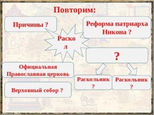 Повторим: Причины ? Реформа патриарха Никона ? Официальная Православная церко