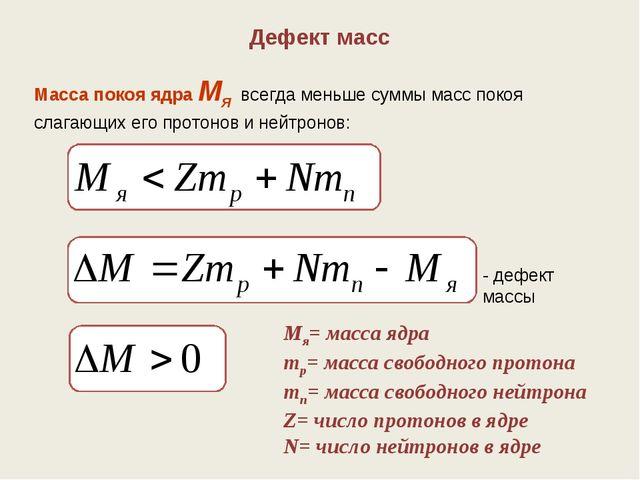 Дефект масс Масса покоя ядра Мя всегда меньше суммы масс покоя слагающих его...