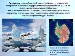 Антарктида— самый высокий континент Земли, средняя высота поверхности контин