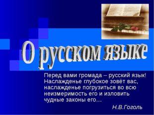 Перед вами громада – русский язык! Наслажденье глубокое зовёт вас, наслаждень