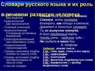 Словари русского языка и их роль в речевом развитии человека - Орфографически