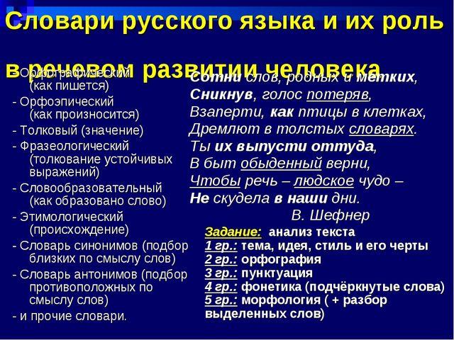 Словари русского языка и их роль в речевом развитии человека - Орфографически...