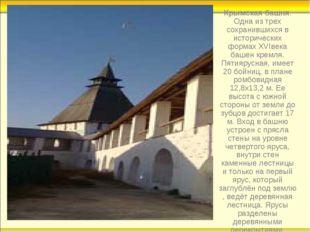 Крымская башня. Одна из трех сохранившихся в исторических формахXVIвека баше