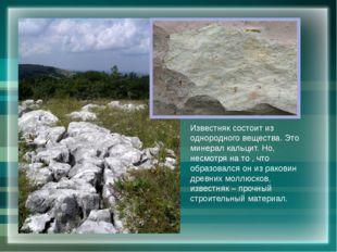 Известняк состоит из однородного вещества. Это минерал кальцит. Но, несмотря