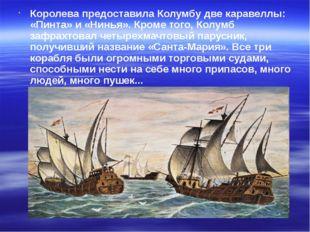 Королева предоставила Колумбу две каравеллы: «Пинта» и «Нинья». Кроме того, К