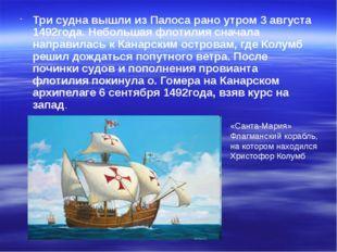 Три судна вышли из Палоса рано утром 3 августа 1492года. Небольшая флотилия с