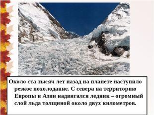 Около ста тысяч лет назад на планете наступило резкое похолодание. С севера н