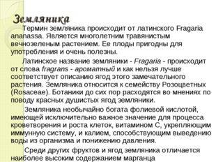 Земляника Термин земляника происходит от латинского Fragaria ananassa. Являет