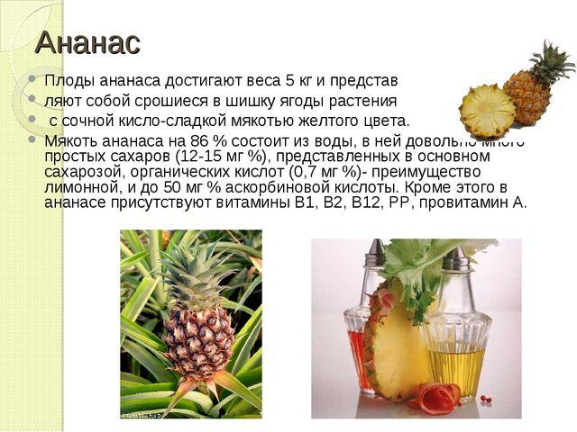 Ананас Плоды ананаса достигают веса 5 кг и представ ляют собой срошиеся в шиш...