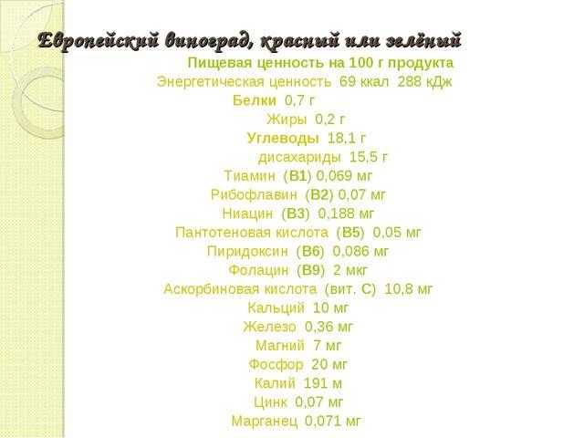 Европейский виноград, красный или зелёный Пищевая ценность на 100г продукта...