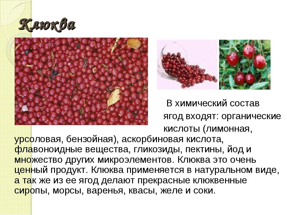 Клюква В химический состав ягод входят: органические кислоты (лимонная, урсол...