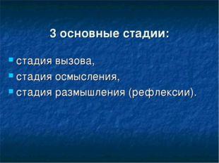 3 основные стадии: стадия вызова, стадия осмысления, стадия размышления (реф