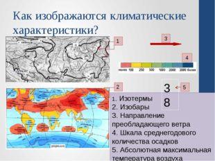 Как изображаются климатические характеристики? 1 2 3 4 1. Изотермы 2. Изобары