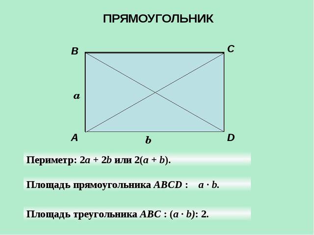 A B C D a b Периметр: 2а + 2b или 2(а + b). Площадь прямоугольника ABCD : а...