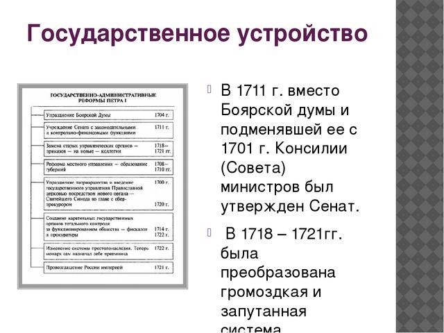 Государственное устройство В 1711 г. вместо Боярской думы и подменявшей ее с...