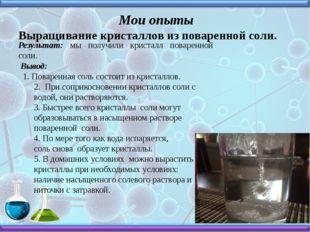 Мои опыты Выращивание кристаллов из поваренной соли. Результат: мы получили
