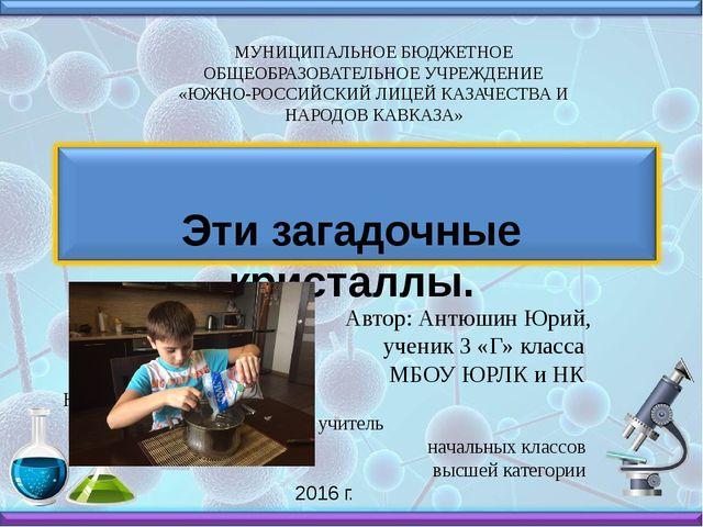 Автор: Антюшин Юрий, ученик 3 «Г» класса МБОУ ЮРЛК и НК Научный руководитель...