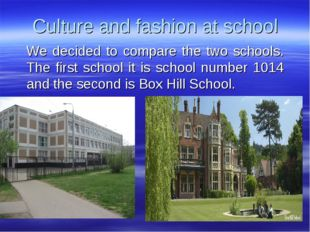 Culture and fashion at school We decided to compare the two schools. The firs